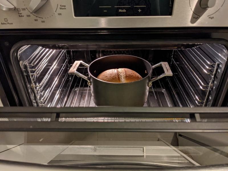 cooking sourdough bread